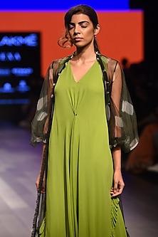 Lime Green Frilled Bottom Dress by Urvashi Joneja