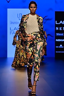Multi Colored Camoflauge Printed Pencil Pants by Urvashi Joneja