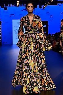 Multi Colored Camoflauge Printed Flounce Gown by Urvashi Joneja