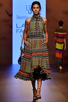 Multi Color Geometric Print Pleated Midi Dress by Urvashi Joneja