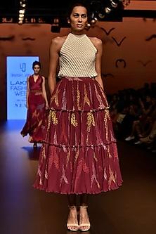 Magenta Layered Flounce Pleated Skirt by Urvashi Joneja