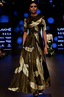 Dark Green Foil Printed and Embroidered Gown by Urvashi Joneja