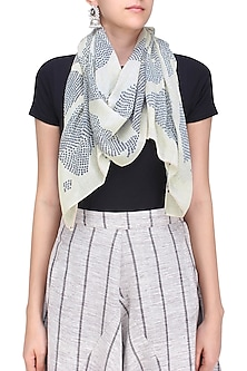 Light Grey and Ecru Sheer Digital Print Stole