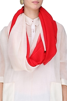 Ecru and Red Ombre Woolen Stole