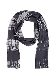 Dark Grey and Ecru Sheer Tie Dye Stole by Urvashi Kaur