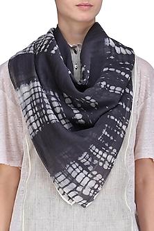 Dark Grey and Ecru Sheer Tie Dye Stole by Urvashi Kaur