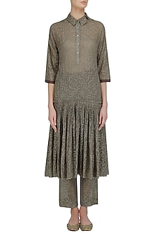 Olive Chikankari Embroidered Drop Waist Dress by Urvashi Kaur