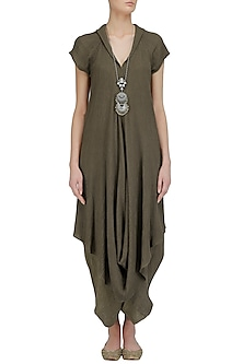 Olive Crinkled Cotton Long Tunic by Urvashi Kaur