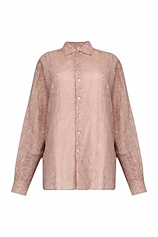 Blush Chikankari Embroidered Kota Shirt by Urvashi Kaur