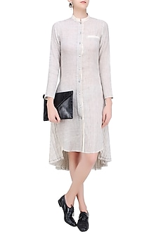 Ecru Color Button Down Tunic Dress by Urvashi Kaur
