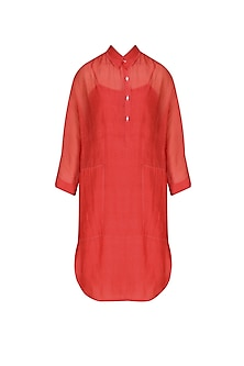Red Chanderi Silk Shirt Tunic by Urvashi Kaur