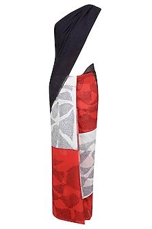 Black, Red and Ecru Tye and Dye Saree