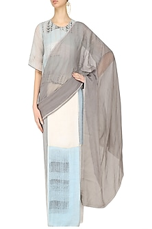 Grey, Blue and Ecru Block Printed Saree by Urvashi Kaur