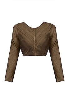 Chocolate Brown Zari Tissue Silk Crop Top