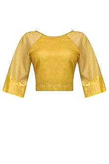 Ochre Polka Block Printed Crop Top