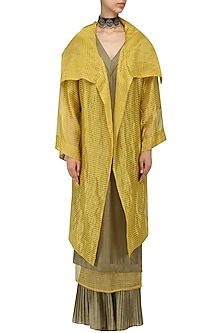 Ochre Oversized Tissue Jacket by Urvashi Kaur