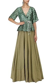 Olive Strip Flared Lehenga Skirt by Urvashi Kaur