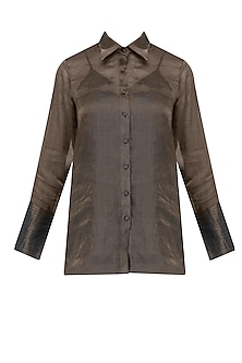 Chocolate Brown Half Tissue Silk Shirt