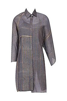 Indigo Oversized Stripes Block Printed Shirt