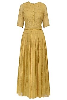 Ochre Pleated Zari Kota Dress
