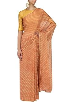 Rust Leheria Tissue Saree by Urvashi Kaur