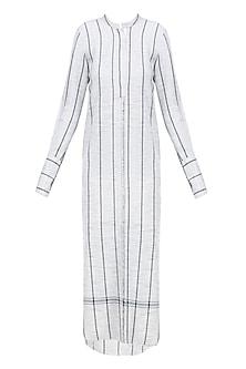 Ecru Striped Panels Khadi Dress by Urvashi Kaur