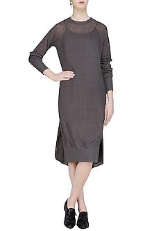 Dark Grey Full Sleeves Loose Khadi Tunic by Urvashi Kaur