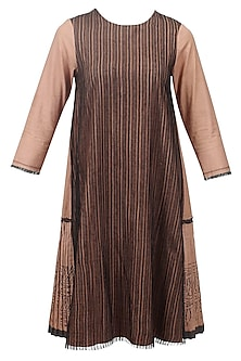 Blush and black striped pleated dress by Urvashi Kaur
