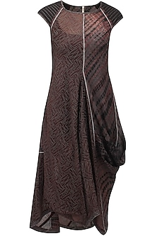 Wine, grey and black tie and due printed drape dress by Urvashi Kaur