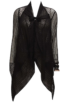 Black front open asymmetric sheer shrug