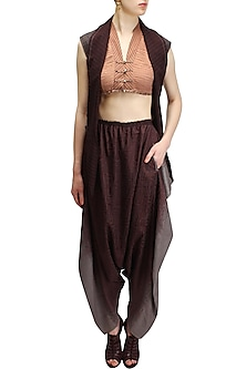 Wine and grey ombre salwar pants by Urvashi Kaur