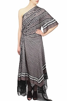 Grey and black digital printed one shoulder dress by Urvashi Kaur