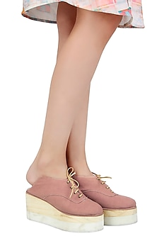 Blush Pink Back Open Wedge Sneakers by Urvashi Kaur