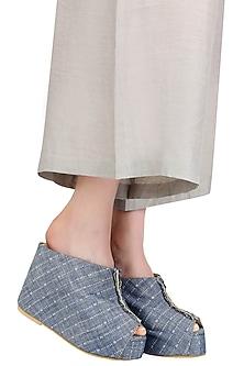 Blue Striped Peep Toe Wedges by Urvashi Kaur