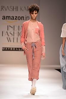 Pink Textured Jacket by Urvashi Kaur
