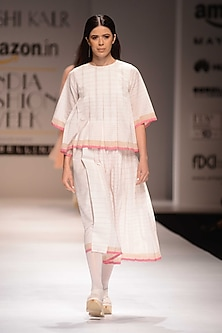 Ecru and Pink Pleated Skirt by Urvashi Kaur
