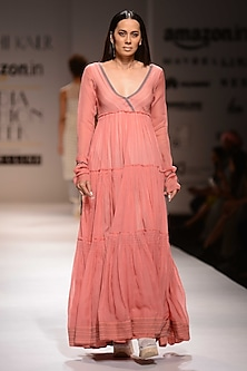 Pink Three Tired Flared Maxi Dress