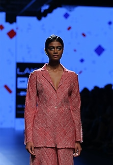 Red single button jacket by Urvashi Kaur