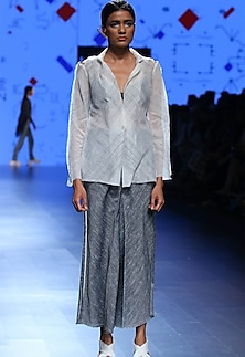 Ecru single button jacket by Urvashi Kaur