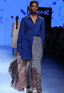 Blue khadi shirt by Urvashi Kaur