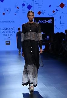 Black and grey panel skirt by Urvashi Kaur