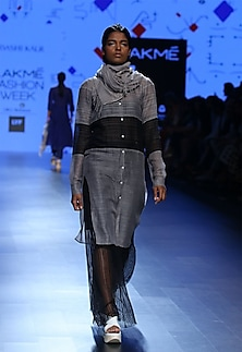 Grey and black panel tunic by Urvashi Kaur