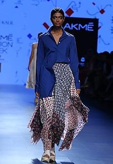 Multi coloured block bye printed skirt by Urvashi Kaur