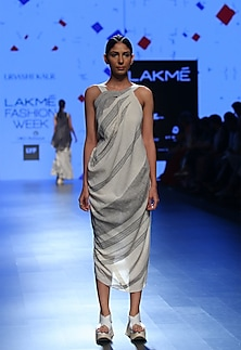Ecru and grey strappy drape dress by Urvashi Kaur