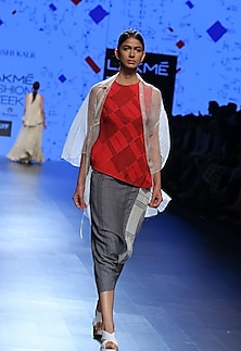 Red self printed top by Urvashi Kaur