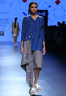 Blue ruffled block printed tunic by Urvashi Kaur