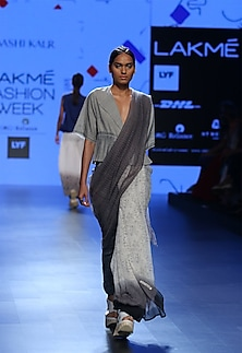 Grey frill tie up top by Urvashi Kaur