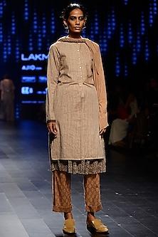 Rust Floral Print Pants by Urvashi Kaur