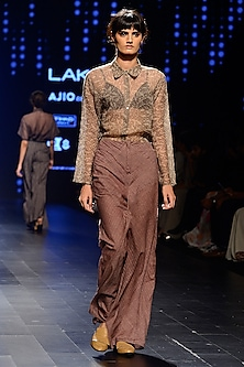 Brown Woven Line Wide Leg Pants