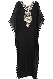 Black stones and metallic studs embroidered tribal kaftan dress